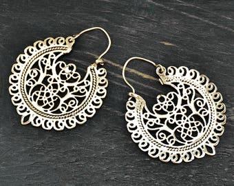 Silver Hoop Earrings, Gypsy Earrings, Boho Earrings, Ornate Earrings, Tribal Earrings,  Filigree Earrings, Ethnic Earrings, Yoga Earrings