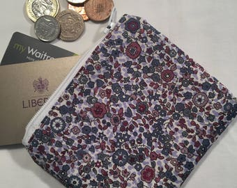 Liberty fabric coin purse, zip pouch, change pouch, change purse, zipper purse, floral purse, gift for her, Christmas gift, floral wallet