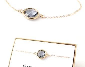 Charcoal Gray / Gold Circle Bridesmaid Bracelet - Gray Jewelry - Gray Bracelet - Delicate Bracelet - Charcoal Bridesmaid Gift - BB1