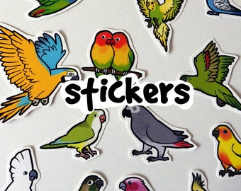 Parrot Sticker assortment - Supporting CT Parrot Rescue - made to order