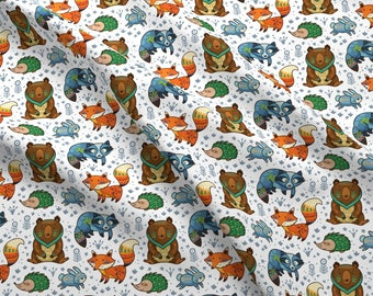 Woodland Forest Fabric - Forest Friends By Penguinhouse - Woodland Raccon, Bear, Fox, Hedgehog Cotton Fabric By The Yard With Spoonflower