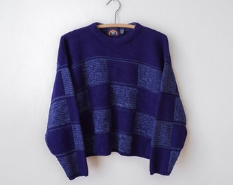 Vintage 1980's Checker Cropped Sweater Size Medium