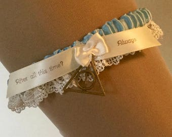 Harry Potter, wedding garter// in Blue // After All This Time Always