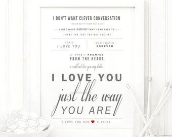 "Billy Joel ""I Love You Just the Way You Are"" - Fathers Day Gift, Valentine's & Wedding Gift, Paper Anniversary, Song Lyrics Wall Art Print"