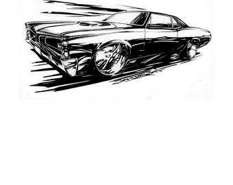 GTO Hot Rod Art. Hot Rod GTO Art. GTO Art. Hot Rod. Muscle car. Garage decor. Automotive tattoo design, body art. Man cave decor, boys room.