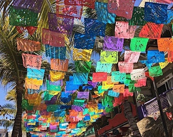 Papel picado, Papel picado banner, Fiesta decorations, Fiesta garland, Fiesta party decorations, Fiesta tissue banner, Fiesta tassel