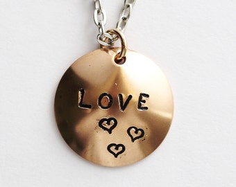 LOVE Necklace, Handstamped Bronze Pendant, Domed Charm, Stamped Necklace Jewelry Handmade by Hendywood