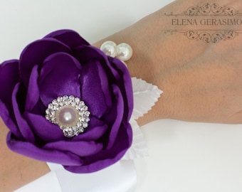Corsage wrist Bracelet for peony purple white bouquet