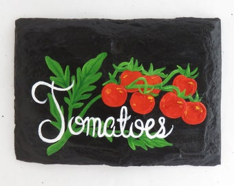 Hanging Tomatoes Slate Garden Marker - Stake Included