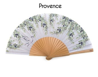 FOLDING HAND FAN | Provence style print with olive branch and dove bird design | fashion accessories | unique gift | Free Shipping Worldwide