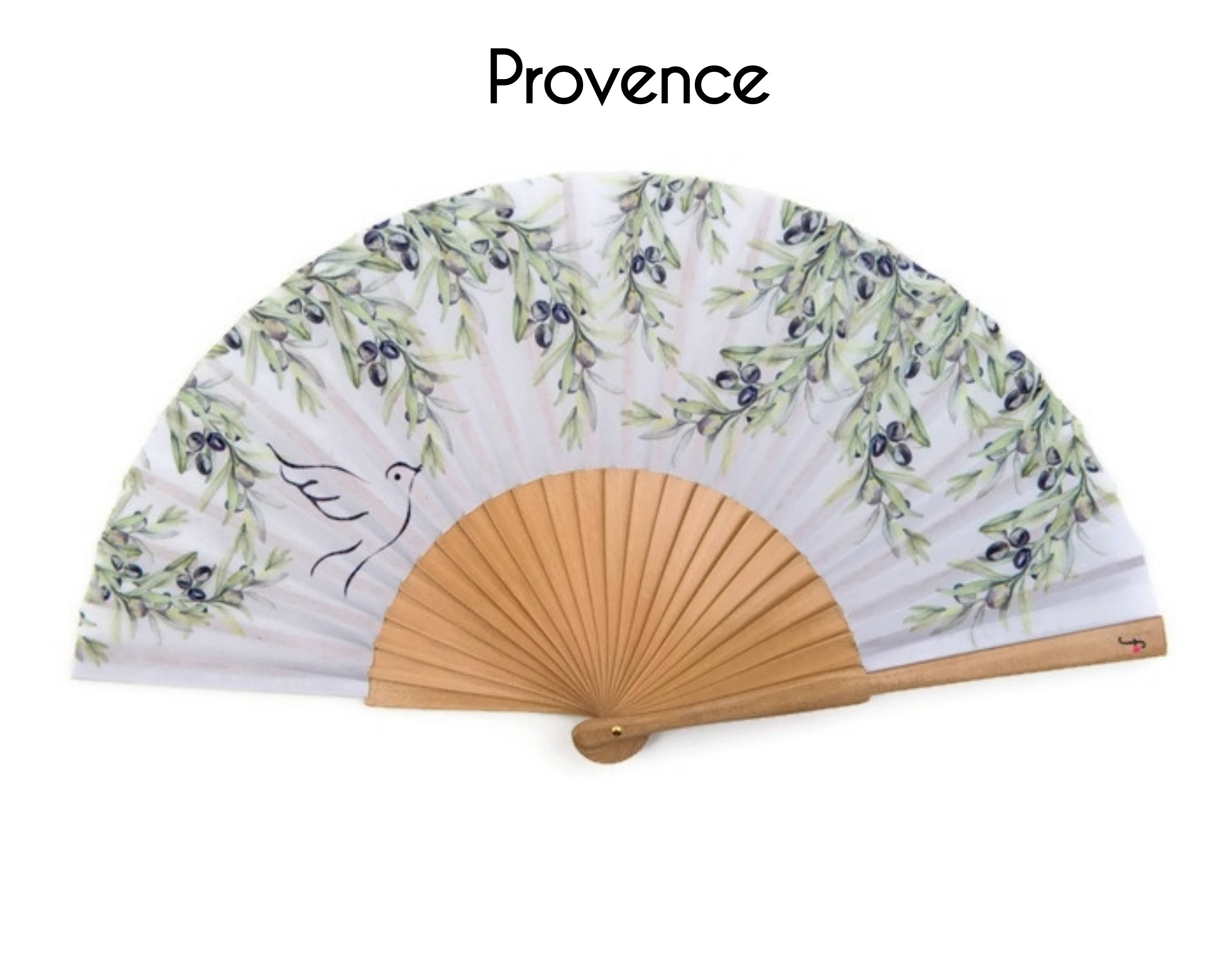 FOLDING HAND FAN Provence style print with olive branch and