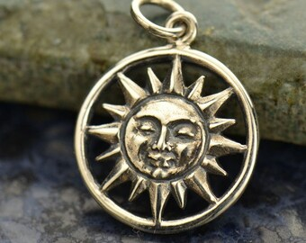 The Sun illuminating the World Necklace - Solid 925 Sterling Silver Charm Pendant - Insurance Included
