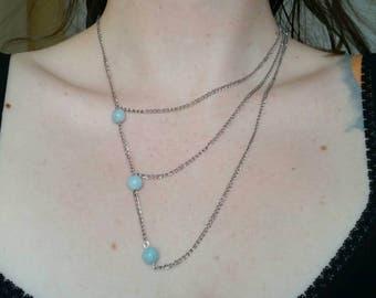 Asymmetrical pale blue necklace