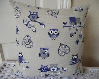 Owl Cushion, Bird Pillow, Blue Owls Cushion, Hearts and Owls Cushion, Linen Look Cushion, Decorative Pillow, Scatter Cushion, Zip Cushion