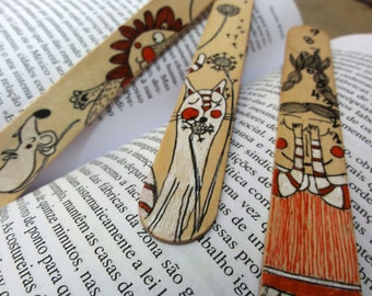 Wood Bookmarks with Unique Illustration [Girl, Cat, Lion and Mouse] - Set of 3