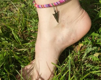 Pink serape cord anklet with arrow head