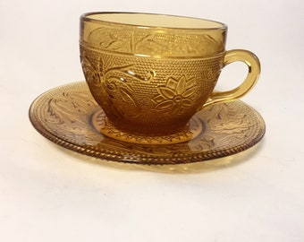 Amber Sandwich Glass Teacup and Saucer, Tiara Exclusives, 4 Available