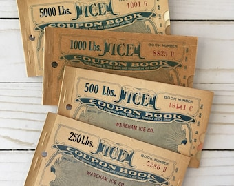 Vintage 1920s Full Book of Ice Coupons