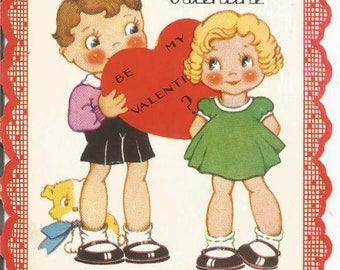 1930s Valentine Card Boy & Girl on Front Vintage Valentine's Day Card Valentine Ephemera Vintage Greeting Card Vintage Valentine