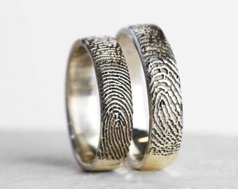 Inked Fingerprint Ring - Fingerprint Jewelry - Fingerprint Keepsake - Womens Jewellery - Mens Jewellery - Personalized Ring