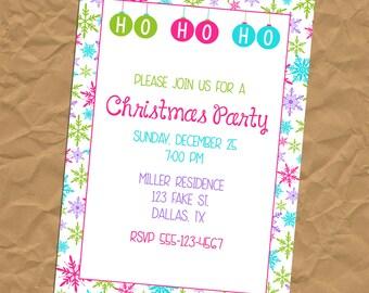 Custom Jeweltone Snowflake Christmas Invitation