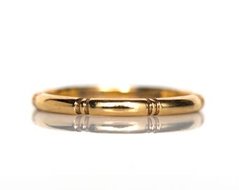 Circa 1940s 14K Yellow Gold Orange Blossom Wedding Band - VEG#793