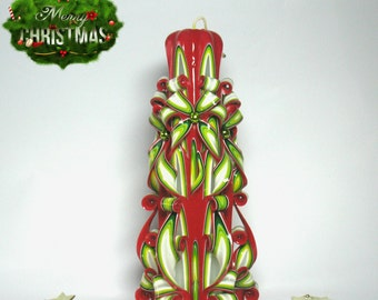 Green red candle carved candles carved Christmas candle gift for Christmas Gifts close a present unique candle