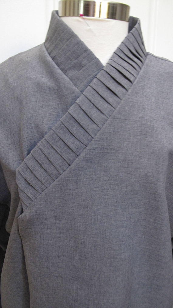 Star Wars Sith under tunic dark gray costume shirt with vertical tucks on the collar and ties around the wrist