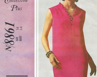 1960s Molly Parnis Womens Elegant Sheath Dress Sleeveless or Long Sleeves McCalls Sewing Pattern 8861 Size 14 Bust 34 New York Designer