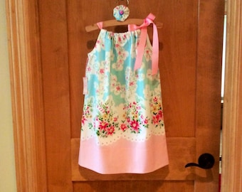 """SALE!!! Pillowcase dress made from a """"new""""Vintage Oscar de la Renta pillowcase in girls size 5/6, with beautiful floral pastels!"""