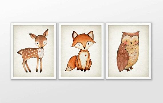 Woodland Aquarell Tiere Kinderzimmer Prints-Set 3 Fox Hirsch