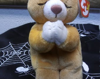 Ty Beanie Babies HOPE the amber and white praying bear