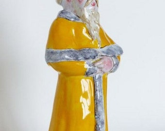 Antique French ironstone. Faïence of Angoulême signed Alfred Renoleau. Anthropomorphous oil cruet. 19th century faience.