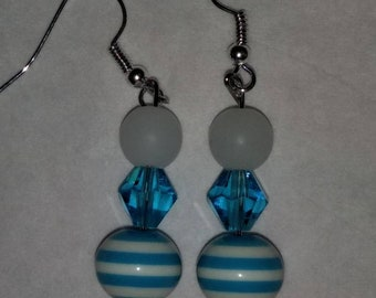 White blue and white striped earrings