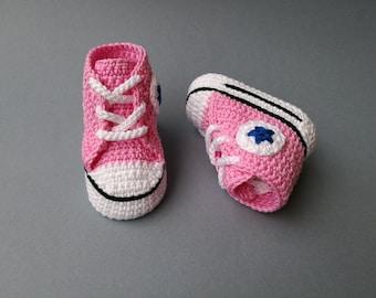 Crochet Pattern baby Converse,  All Star, newborn shoes