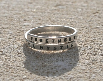 Van Morrison Hand stamped Silver Quote Ring 'Together we will float into the mystic' Sterling Silver -Adjustable