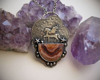 RESERVED - Pegasus and Laguna Lace Agate Necklace - Fantasy Art Jewelry - Magical Silversmith Jewelry - Silver Artisan Statement Pendant