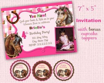 Horse party invitation,  Horse birthday party invitation, Pony birthday party, Pony party Horse invitation Pony invitation  equestrian
