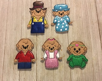 Berenstain bears inspired finger puppets / quiet time activity / birthday present