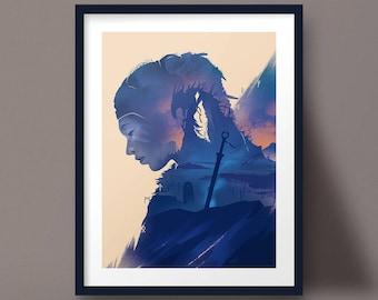 Hellblade Senua's Sacrifice Art Print, Sword Landscape, Runes Poster Design
