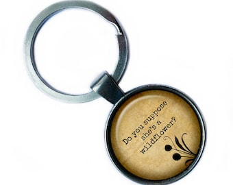 """Alice in Wonderland """"Do you suppose she's a wildflower?"""" Keychain Keyring"""