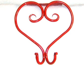 Office Cubicle Decoration Heart Coat Hook, Handmade, Hand Forged - Red or Satin Black