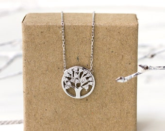 Tree of Life Necklace, Sterling Silver Pendant Necklace, Dainty Necklace,  Sterling Silver Necklace, Gift for Her, Gift for Mom, N312-S