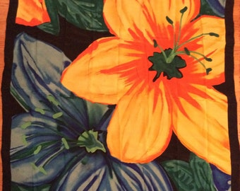 Vintage 1980s Oversized Huge Massive Silk Floral Ginnie Johansen Scarf/Wowsers thats Bold!