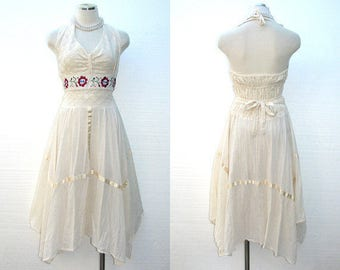 vintage 70s mexican dress / 1970s dress / crochet embroidered halter hippie dress