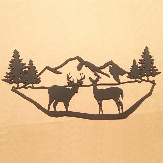 Mountains with Deer Metal Wall Art N5