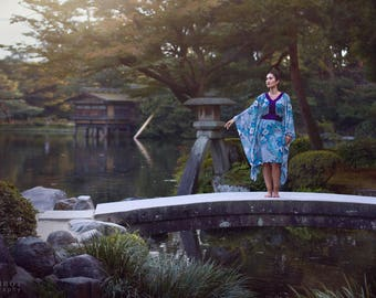 Chic floral kimono boho dress oriental