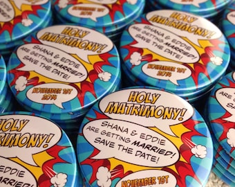 """Custom Listing For Ellie: Wedding Save The Date Magnets Comic Book Design """"Holy Matrimony"""" (Complete With Organza Bags) x 10"""