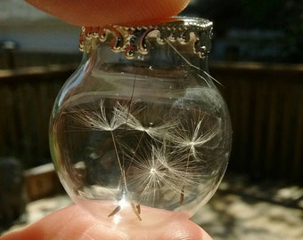 Wish pendant, dandelion seed necklace, make a wish, botanical pendant, flower pendant, gift for her, custom jewelry, gift under 20