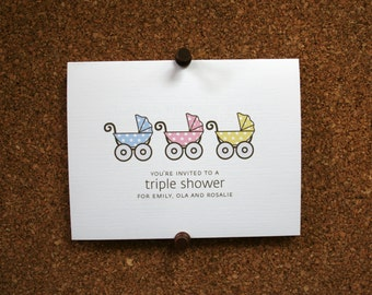 Baby Carriage Shower Invitation / Twin, Triplet, Multiple / Personalized / Twin Boys / Twin Girls / Boy & Girl Twins / Pram / Set of 10